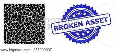 Broken Asset Corroded Seal And Vector Recursion Collage Square Shape. Blue Stamp Seal Includes Broke