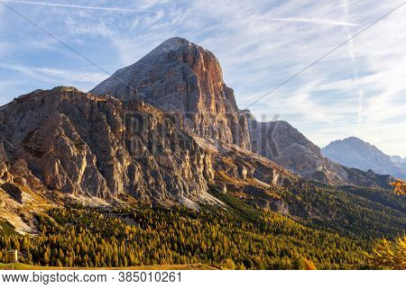 Golden Autumn Hills With Larch Trees On The Hill Of Falzarego Pass, Dolomites, South Tirol, Italy
