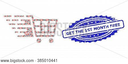 Get The 1st Month Free Rubber Stamp Seal And Vector Recursive Mosaic Supermarket Cart. Blue Stamp In