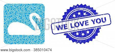 We Love You Corroded Seal Imitation And Vector Recursive Collage Swan. Blue Stamp Seal Includes We L