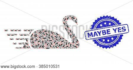Maybe Yes Scratched Stamp Seal And Vector Recursive Mosaic Swan. Blue Seal Includes Maybe Yes Text I