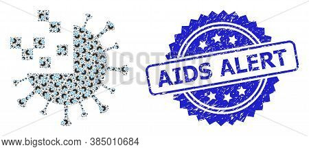 Aids Alert Textured Stamp And Vector Fractal Mosaic Synthetic Virus. Blue Stamp Seal Has Aids Alert