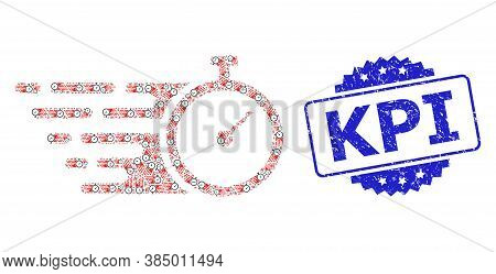 Kpi Unclean Seal Imitation And Vector Recursion Collage Time Tracker. Blue Stamp Seal Includes Kpi C