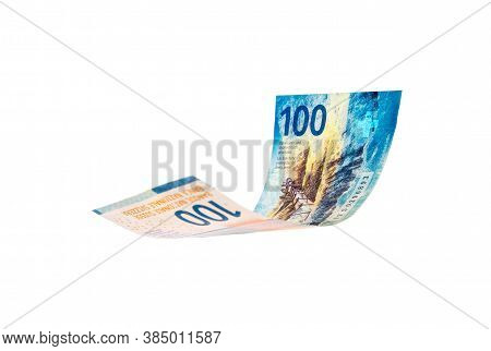 Flying Swiss Money - The New Issue Of Ten Francs Note, Isolated With Clipping Path