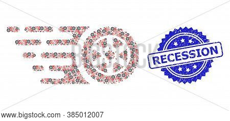 Recession Rubber Stamp And Vector Recursion Collage Tire Wheel. Blue Stamp Seal Includes Recession T