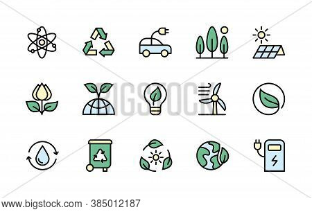 Ecology And Alternative Energy Sources In Minimal Style. Color Symbols Of Ecology. Simple Set Of Vec