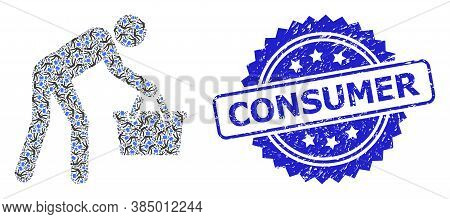 Consumer Dirty Seal Imitation And Vector Recursive Mosaic Tired Buyer Persona. Blue Stamp Seal Conta