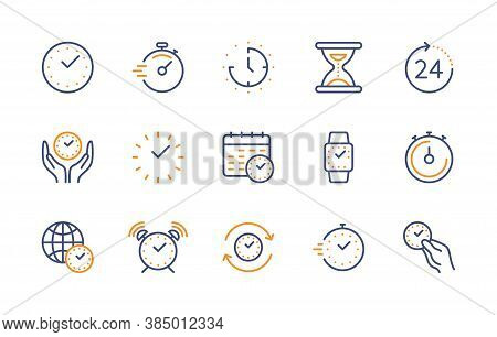 Time And Clock, Vector Color Linear Icons Set. Timer, Alarm, Smartwatch, Time Management, 24 Hour Cl