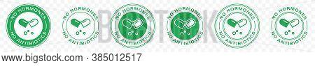 No Antibiotics Food Label Stamp, Hormones Free Farm Grown Chicken And Beef Or Pork Meat Vector Logo.