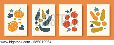 Vector Illustration Abstract Still Life Of Vegetables In Pastel Colors. Collection Of Contemporary A