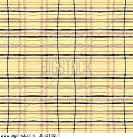 Indigo Square Plaid. Seamless Buffalo Cloth. English Tartan Pattern. Rustic Woven Repeat. Square Pla
