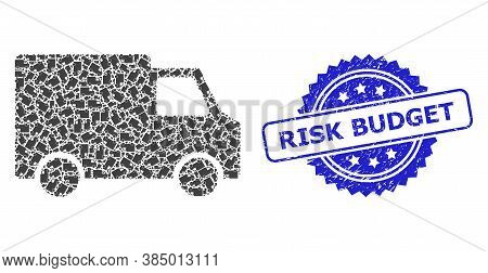 Risk Budget Grunge Seal And Vector Recursion Mosaic Van Car. Blue Stamp Seal Includes Risk Budget Ti