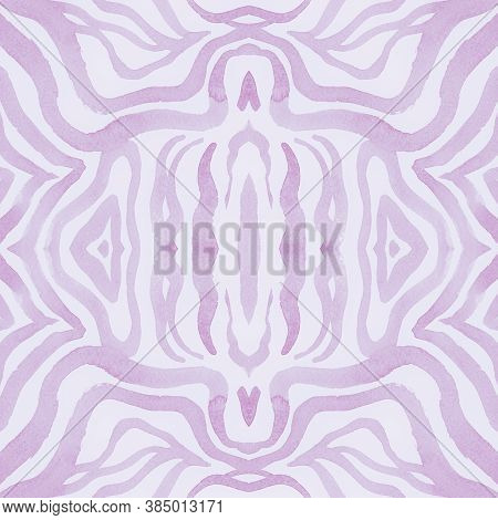 White African Print. Watercolor Safari Fur Texture. Pink Fashion Jungle Wallpaper. Zoo Stripes Repea