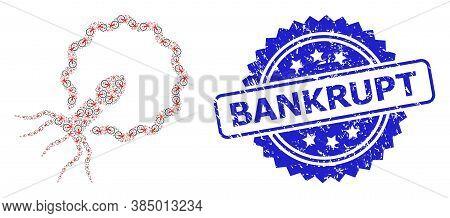 Bankrupt Grunge Stamp And Vector Recursion Collage Virus Penetrating Cell. Blue Stamp Seal Includes