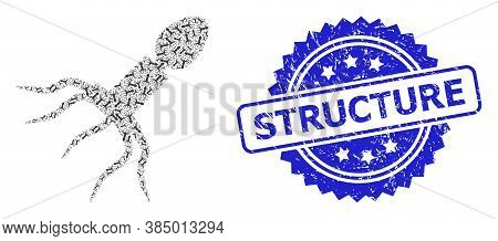 Structure Scratched Seal Imitation And Vector Fractal Collage Virus Structure. Blue Seal Has Structu