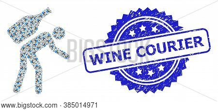 Wine Courier Corroded Stamp Seal And Vector Recursion Mosaic Wine Courier. Blue Stamp Seal Has Wine