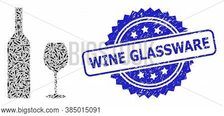 Wine Glassware Dirty Stamp Seal And Vector Recursive Mosaic Wine Glassware. Blue Stamp Seal Has Wine