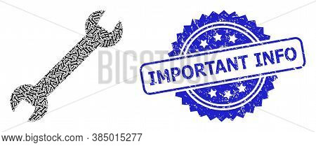 Important Info Dirty Stamp Seal And Vector Fractal Collage Wrench. Blue Stamp Seal Has Important Inf