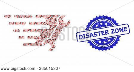 Disaster Zone Unclean Stamp Seal And Vector Recursion Mosaic Wrench. Blue Seal Includes Disaster Zon