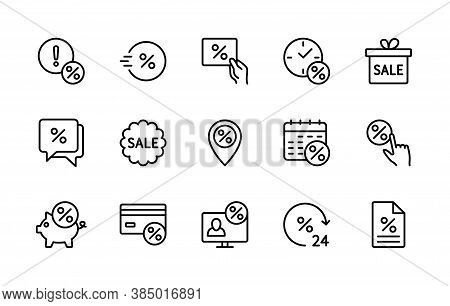 Sale Management, Vector Linear Icons Set. Business Sales And Discount. Coupon, Percent Icon, Online