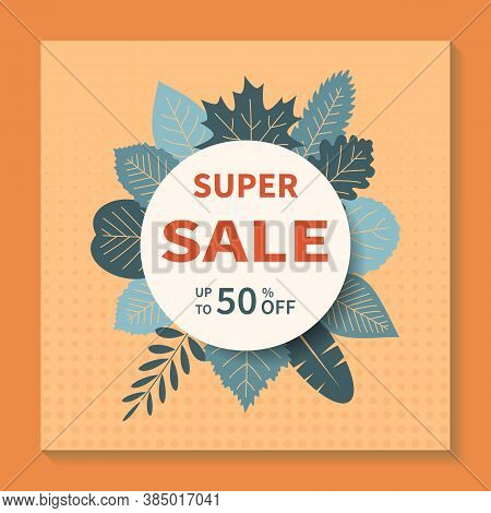 Square Vector Banner Design For Super Sales. Abstract Geometric Tag Template With Specials Discounts