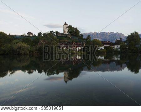 Reflection Of Schloss Werdenberg Castle In Werdenbergersee In Buchs St. Gallen Switzerland
