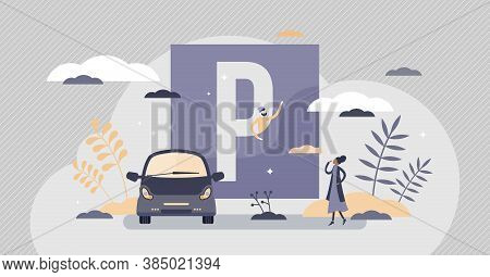 Parking Lot As Urban Street Traffic Sign For Vehicle Tiny Persons Concept. Car Space Place Informati