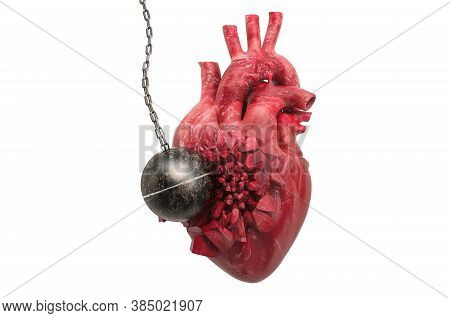 Human Heart Destroying By Wrecking Ball. Pain In Heart, Heart Disease Concept. 3d Rendering Isolated