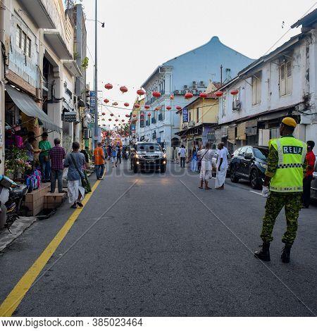 Malacca, Malaysia - January, 01 2020: Jagannath Rath Yatra In Jonker Street Is The Centre Street Of
