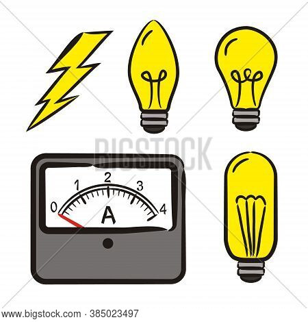 Set Of Hand-drawn Icons On The Theme Of Physics. Pictograms Of Ammeter, Light Bulb, Lightning, Disch