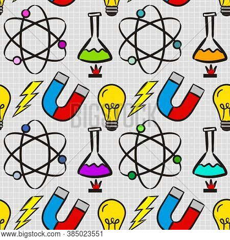 Seamless Doodle Pattern With School Elements. Pattern With Physics Objects Ammeter, Molecules, Flask