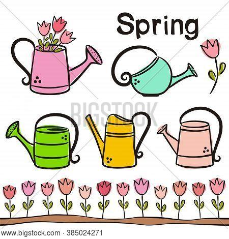 Time Of Year - Spring. Elements For Seasonal Calendar. Hand-drawn Ice Cream, Watermelon, Lemonade, K