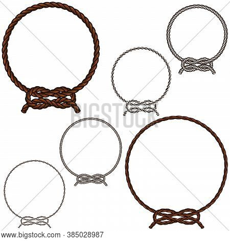 Vector Illustration Of Knotted Ropes In Color And Black And White, Easy To Change Color, All On Whit