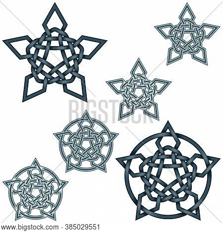 Vector Illustration Of Intertwined Stars In Celtic Style Surrounded By Circle, Easy To Edit And Chan