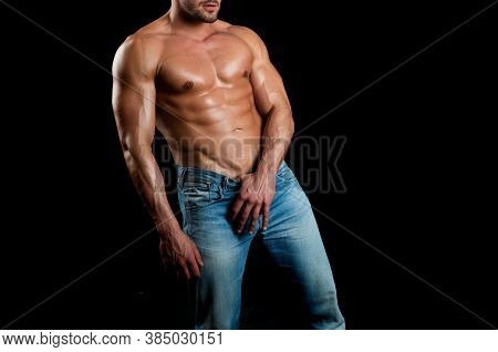 Hot Boy. Muscular Mans Torso. Male Flexing His Muscles