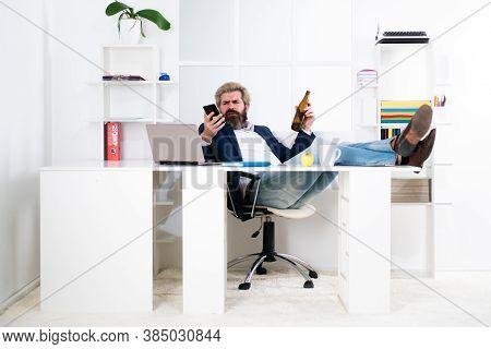 Freelancer Hipster, Office Worker, Business Man Finishing Work Before Deadline, Drunk Ending Of Work