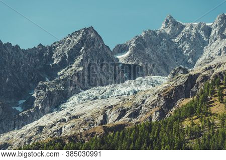 Entreves Italy Southern Mont Blanc Massif Glacier Scenic Summer Landscape, Italy, Europe. High Mount