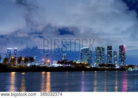Beautiful Miami Florida Skyline At Sunset. Miami Downtown