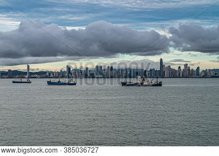 Panama City, Panama - November 30, 2008: Wide Shot, From The Bay With Ships Anchored, Of Modern Buil