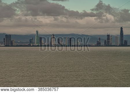 Panama City, Panama - November 30, 2008: Seen From The Gray Ocean Water Bay, Of Modern Buildings Alo
