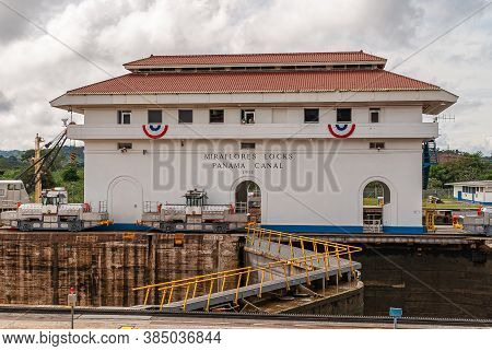 City Of Knowledge, Panama - November 30, 2008: White Buidling With Red Roof Is Operations Office Set