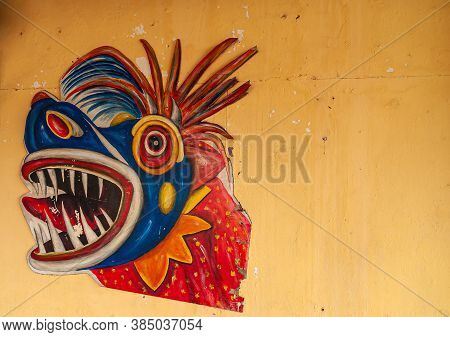 Panama City, Panama - November 30, 2008: Closeup Of Colorful, Mainly Blue And Red, Mask Of Monster H
