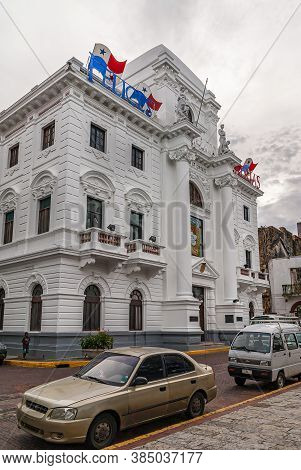 Panama City, Panama - November 30, 2008: The Old City Hall Is White Historic Building With Flags And