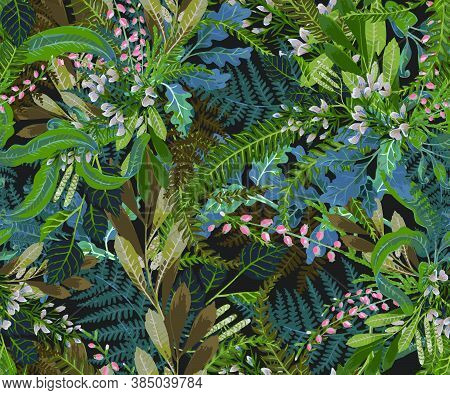 Vector Designer Elements Of Collection Set Of Green Forest Fern, Tropical Green Eucalyptus Foliage A