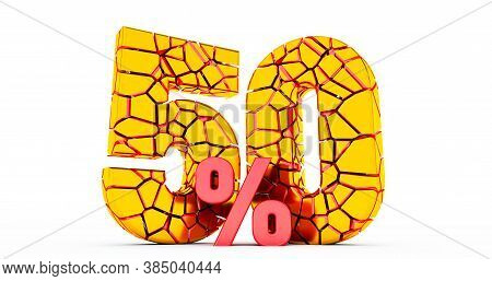 3d Render Of Broken 50 Percent Discount Sign,. 50% Off. On Sale. Great Deal.