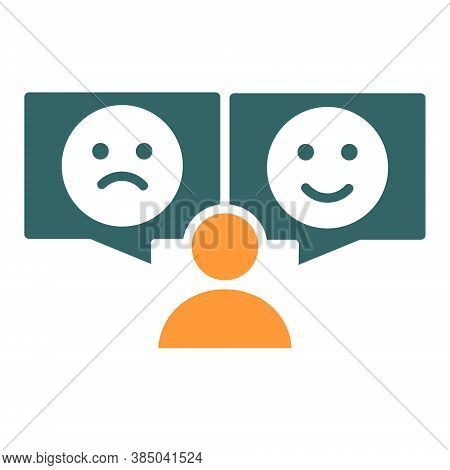 Human With Different Emotions Colored Icon. Positive And Negative Emoji Symbol