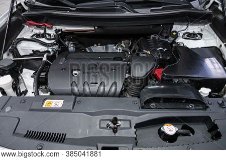 Novosibirsk, Russia - August  07, 2020 : Mitsubishi Outlander , Close Up Detail Of  Car Engine, Fron