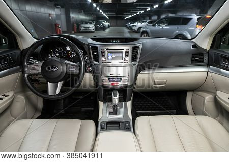 Novosibirsk, Russia - August  07, 2020 : Subaru  Outback, Car Interior - Steering Wheel, Shift Lever