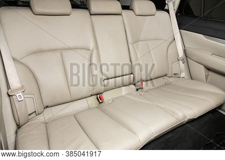 Novosibirsk, Russia - August  07, 2020 : Subaru  Outback, Comfort Car Inside. Clean Car Interior: Wh