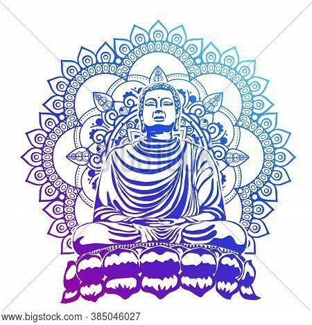 Buddha Over Ornate Mandala Round Pattern Esoteric, Shining Buddha In Meditation On Beautiful And Mag